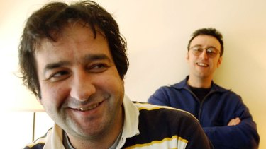 Mick Molloy and Martin promote their  film 'Bad Eggs' in 2003.