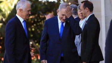 Israeli Prime Minister Benjamin Netanyahu and Prime Minister Malcolm Turnbull arrive for a meeting at Kirribilli.
