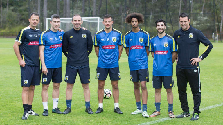 Canberra footballers Jeremy Habtemariam, Jordan Tsekenis and Andrew Slavich joined coach Luka Udjur in a Central Coast Mariners camp.