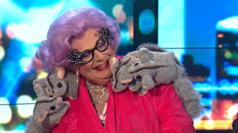 Classic form ... Dame Edna needled Waleed Aly, or 'little Wally', on The Project.