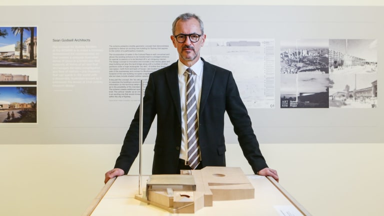 Michael Brand, Director of the Art Gallery of NSW with designs for the Sydney Modern project.