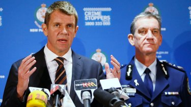 Then premier Mike Baird and NSW police commissioner Andrew Scipione during a press conference about the siege in Martin Place.