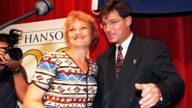 Pauline Hanson and David Oldfield on the campaign trail in 1999.