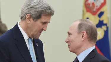 Worries about how willing the US is to accommodate Russia in Syria: US Secretary of State John Kerry, left, speaks with Russia's President Vladimir Putin in Moscow on Tuesday.