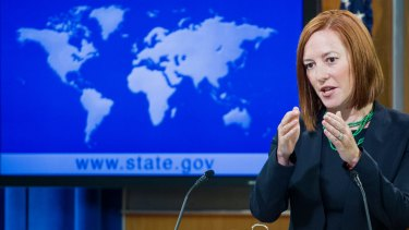 Diplomatic stance: US State Department spokeswoman Jen Psaki says the US had no advance knowledge the Taiwanese flag was to be raised in Washington.
