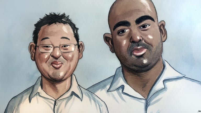 An artist's impression of Andrew Chan and Myuran Sukumara.