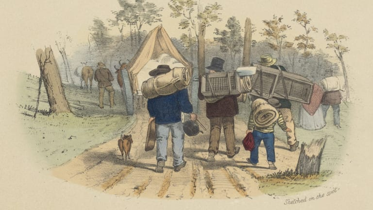 Diggers on the Way to Bendigo, 1852, by S.T. Gill, lithograph, National Library of Australia.
