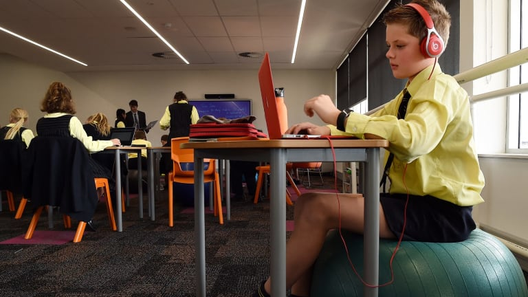 """""""Teachers and students are grouped for learning in a way that's more fluid and flexible than in the traditional rectangular classroom,"""" Inaburra School principal Tim Bowden says."""