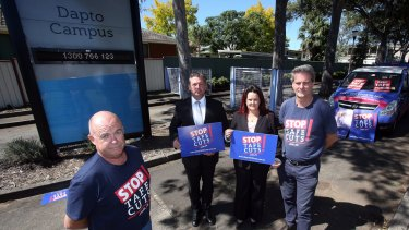 NSW TAFE teachers association president Phil Chadwick, Labor candidate for Kiama Glenn Kolomeitz, member for Shellharbour Anna Watson and NSW Teachers Federation TAFE organiser Rob Long.