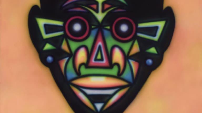 A partial view of Howard Arkley's Zappo Head 1987.