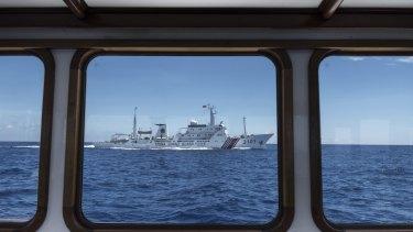A Chinese Coast Guard ship patrols the South China Sea.