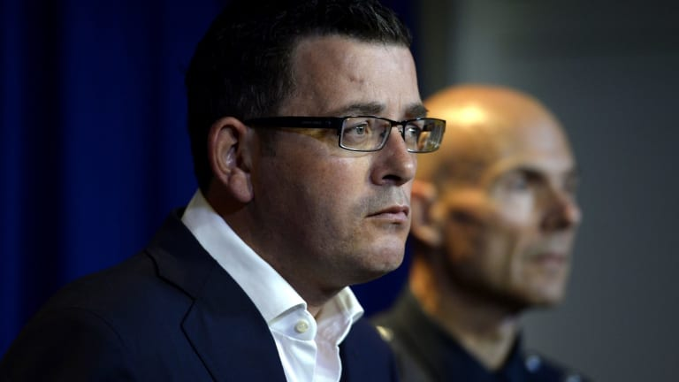 Victorian Premier Daniel Andrews and Deputy Commissioner Andrew Crisp at a media conference  about the gang violence that hit Melbourne on Saturday night.