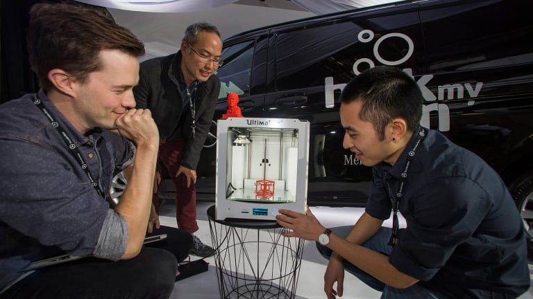 Protoworks' Kade Greenland, Hans Chang and Yow Chai with their On Demand 3D Printing Workshop.