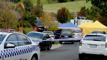 The scene outside the Melbourne home where a teenager has been arrested on terror charges.