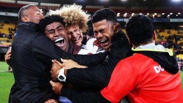 Emotional: Kevin Naiqama and Fiji celebrate.