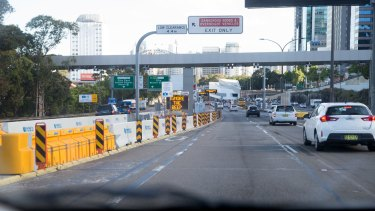 A new toll gantry on the Warringah Freeway near the northern entrance to the Harbour Bridge.