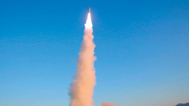 The Pukguksong-2 is launched at an undisclosed location in North Korea.