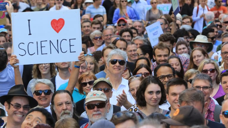 The March for Science Sydney rally in Martin Place.