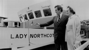 Transport Minister Wal Fife, left, and Elizabeth Nash, daughter of the late NSW Govenor Sir John Northcott, at the christening of the Lady Northcott ferry in 1975.