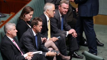 Prime Minister Malcolm Turnbull and Leader of the House Christopher Pyne in Parliament on Thursday night.