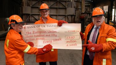 Politicians Boris Johnson,  Gisela Stuart and Douglas Carswell with a mock cheque referring to the costs of EU membership during a tour supporting the Leave campaign.