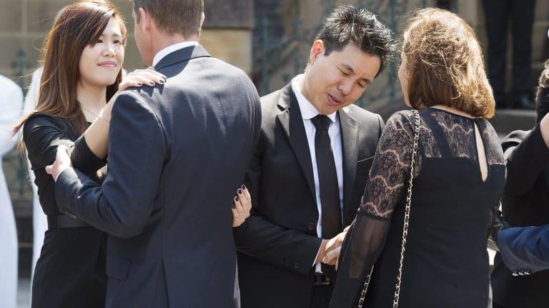 Curtis Cheng's children greet NSW Premier Mike Baird.