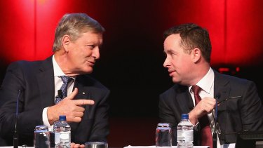 """Not going anywhere"": Leigh Clifford and Alan Joyce."
