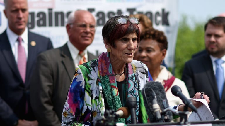 Democratic members of Congress led by Representative Rosa DeLauro of Connecticut hold a news conference to voice their opposition to the Trans-Pacific Partnership trade deal.