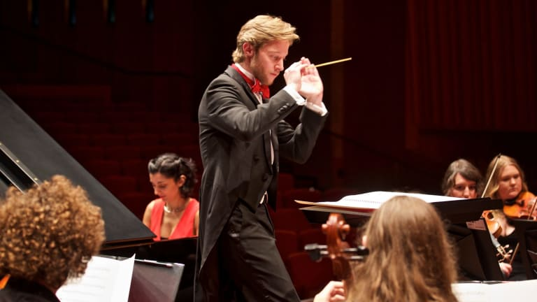 Leonard Weiss conducting the Canberra Youth Orchestra. Photo William Hall