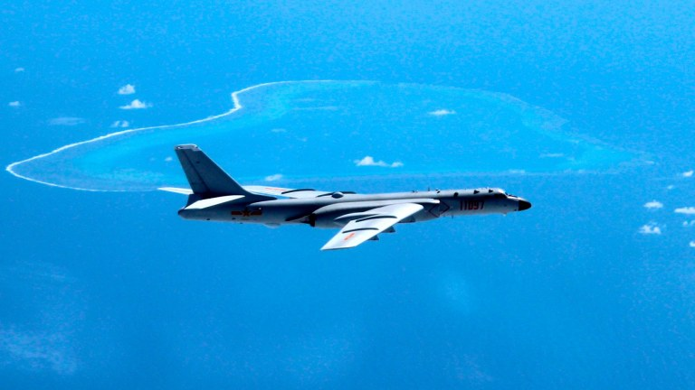 A Chinese H-6K bomber patrols the South China Sea. A dispute over islands and reefs in the area will remain in the background.