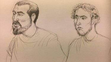 An artist's sketch of Hamza Abbas, left, and Ahmed Mohamed.  Illustration: Joe Benke