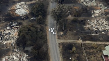 An aerial shot of the devastation in Marysville, two days after Black Saturday.