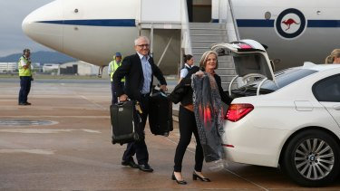 Prime Minister Malcolm Turnbull and Lucy Turnbull depart RAAF Fairbairn in Canberra for his first stop in Jakarta, Indonesia, on an international trip which includes visits to Germany, Turkey for G20, Philippines for APEC and Malaysia for the East Asia Summit.
