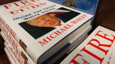 A stack of reserved <i>Fire and Fury</i> books by writer Michael Wolff.