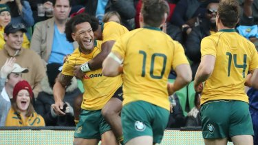 Back to his best: Israel Folau scored a double as the Wallabies cruised to victory over Fiji.