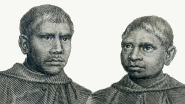 A scan of a drawing of John Dirimera, left, and Francis Conaci from the Archives of the Benedictine Community of New Norcia.  The boys were taken to Rome 168 years ago.