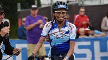 Turia Pitt preparing for the bike leg of the Port Macquarie Ironman in May.