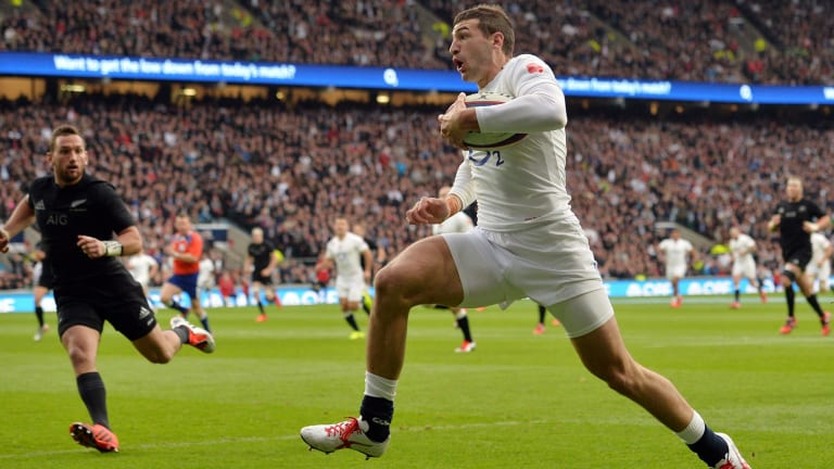 Opening try: England winger Jonny May leaves the All Blacks cover defence floundering.