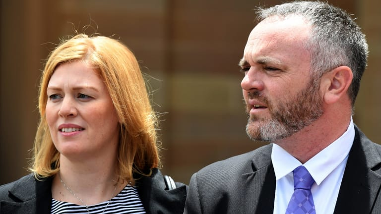 Leighee and Philip Eastbury outside court on Monday.