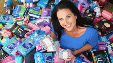 Share the Dignity founder Rochelle Courtenay with sanitary product donations.