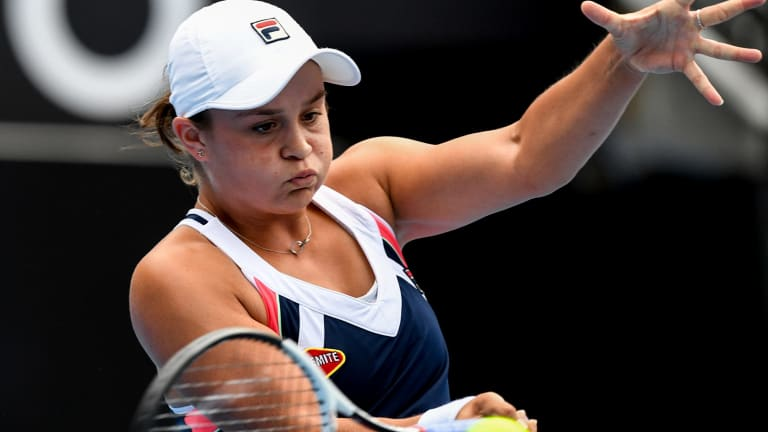 Step up in class: Ash Barty trades blows with Angelique Kerber in a display she rated as one her best despite the defeat.