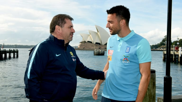 Reunion: Socceroos coach Ange Postecoglou with Greek captain Andreas Samaris in Sydney on Friday.