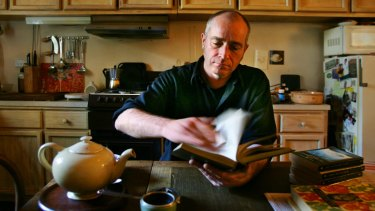 Playwright Michael Gurr at home in his kitchen.