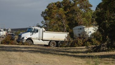 The truck that drove over a car, killing the driver, on the Calder Freeway.