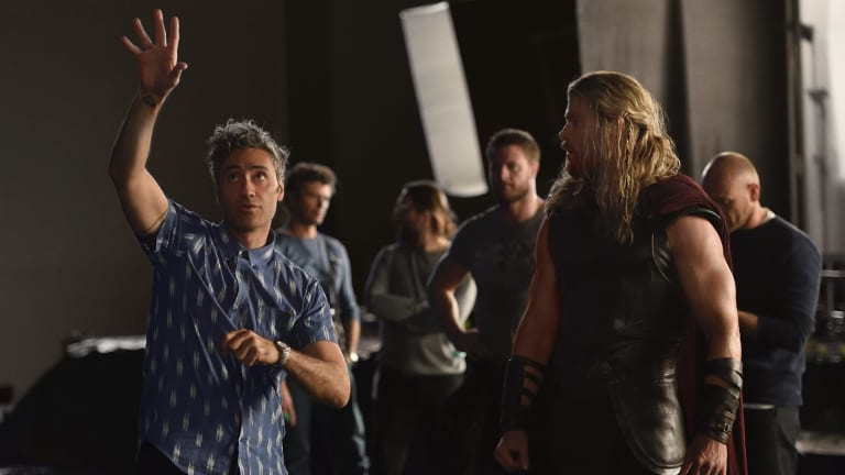 Director Taika Waititi and Chris Hemsworth as Thor on the set of <i>Thor: Ragnarok</I> in Queensland.