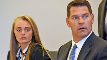 Defendant Michelle Carter, left, and her attorney Joseph Cataldo during a pretrial hearing in 2016.