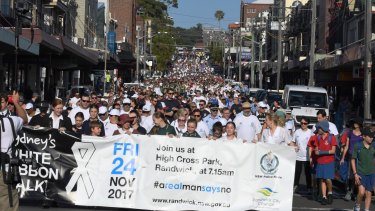 Randwick City Council and the NSW Police Force hold this year's annual Sydney White Ribbon Day Walk, which aims to stop violence against women.