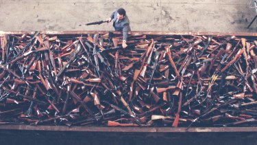 About 4000 guns about to be destroyed as part of the 1996 buyback.