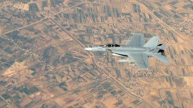 A Royal Australian Air Force F/A-18F Super Hornet in Iraq in 2014.