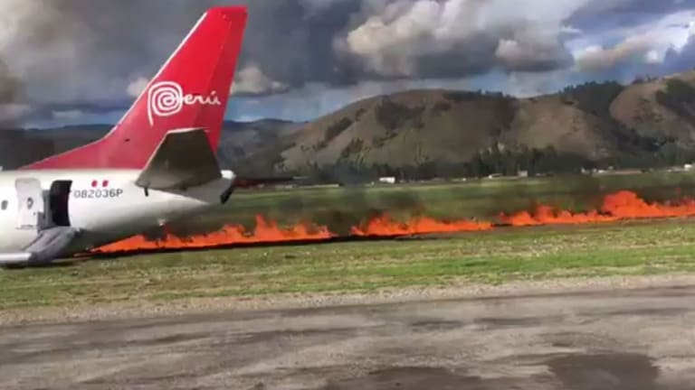 The Peruvian Airlines Boeing 737 jet with 141 passengers on board veered off the runway.